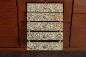 lapacho veneer finish, etched copper drawer fronts