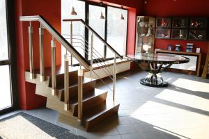 Stairs, box clogs, balusters, handrails with acid steel elements